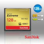 SanDisk 128GB Extreme CompactFlash Card with (write) 85MB/s and (Read)120MB/s - SDCFXSB-128G